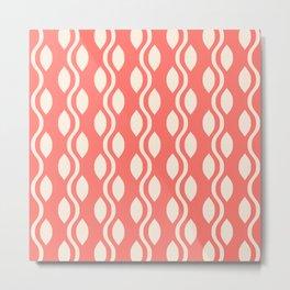 Retro Ogee Pattern 474 Coral and Beige Metal Print