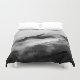 Foggy Mountains Black and White Duvet Cover