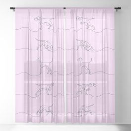 Continuous Line Weimaraners (Lilac Background) Sheer Curtain