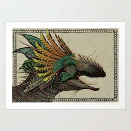 Decorated dinosaurs: Giganotosaurus Art Print