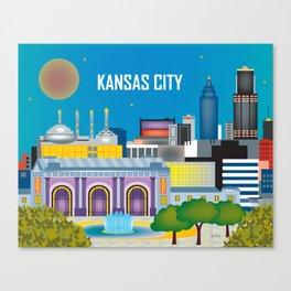 Kansas City, Missouri - Skyline Illustration by Loose Petals Canvas Print