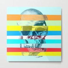 Striped Glitch Skull Metal Print
