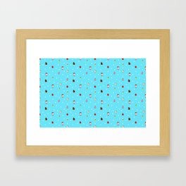 Sad Food by Squibble Design - Repeating Pattern on blue polka dot background Framed Art Print