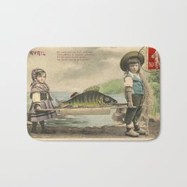 The April Fish - Vintage / Antique French Post Card - Piosson D'Avril - April Fools Day Bath Mat