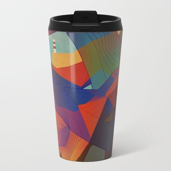 The Rocks by the Lighthouse Metal Travel Mug