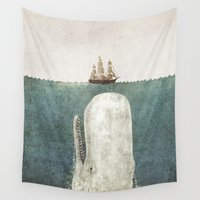 jaws Wall Tapestries featuring The Whale - vintage option by Terry Fan