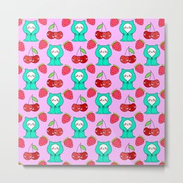 Cute funny sweet adorable little white baby kittens wrapped in a cozy blanket, little cherries and red ripe summer strawberries cartoon fantasy light pastel pink pattern design. Metal Print