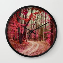 Red, Rust and Orange Ethereal Forest Path Wall Clock