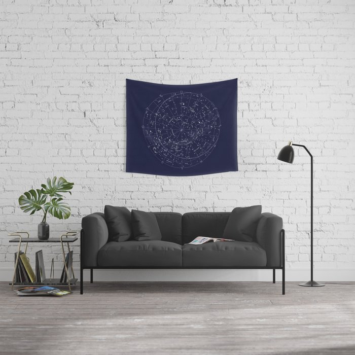 Constellation map indigo wall tapestry by mmerlin society6 constellation map indigo wall tapestry gumiabroncs Gallery