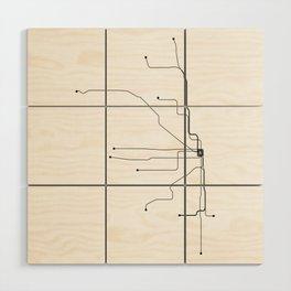 Chicago Subway White Map Wood Wall Art