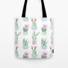 Simply Echeveria Cactus in Pastel Cactus Green and Pink Tote Bag