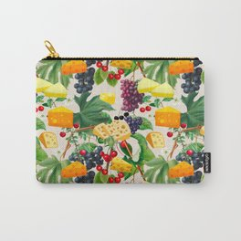Cheese, fruits, vine leaves ,cherries ,grapes pattern  Carry-All Pouch