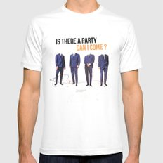 Is There a Party Can I Come | Collage Mens Fitted Tee MEDIUM White