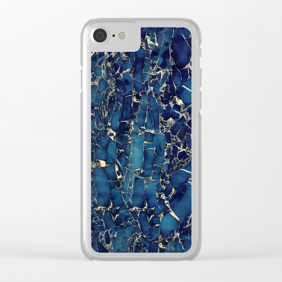 Dark blue stone marble abstract texture with gold streaks Clear iPhone Case