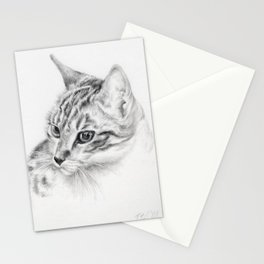 Tabby Cat Portrait Graphite Pencil drawing Pet illustration Decor for Cat Lover Stationery Cards