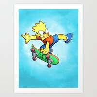 simpson Art Prints featuring Bart Simpson by Joe McGro