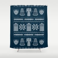 sweater Shower Curtains featuring Who's Sweater by Mandrie