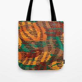 Abstract orange jade brown safari geometrical print Tote Bag