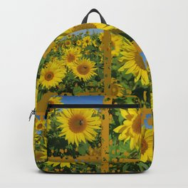 Collage of yellow sunflowers in summer, cheerful yellow flowers in front of bright blue sky Backpack