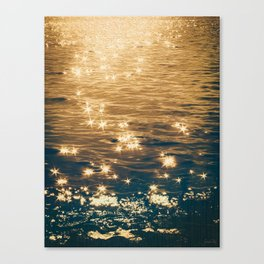 Sparkling Ocean in Gold and Navy Blue Canvas Print