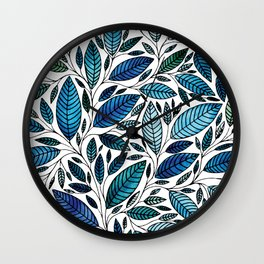 Blue Leaves / leaf Illustration (P07 063) Wall Clock