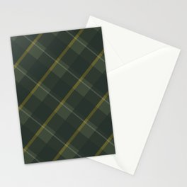 Green yellow plaid Stationery Cards