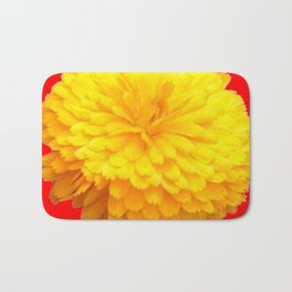 BRILLIANT LARGE YELLOW FLOWER ON RED Bath Mat