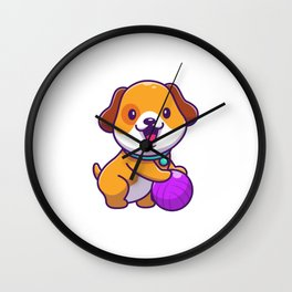 Cute Dog Playing Ball Icon Illustration Puppy Dog Mascot Cartoon Character Animal Icon Concept Isola Wall Clock