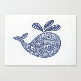 Whale Zentangle Canvas Print