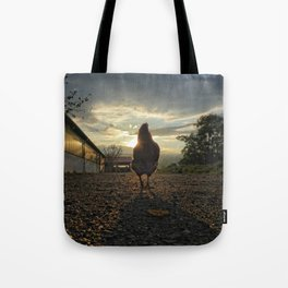 Lucky chicken at the farm Tote Bag