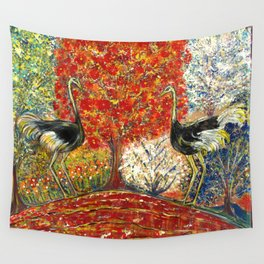 Ostriches by the Red Tree Wall Tapestry