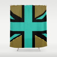 union jack Shower Curtains featuring Glittery Union Jack by Alice Gosling