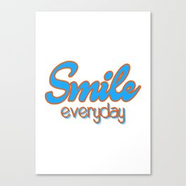 Smile Everyday, typography poster, motivational, inspirational, blue and orange version Canvas Print