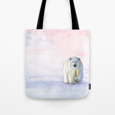 Polar bear in the icy dawn Tote Bag