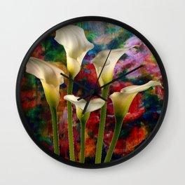 Ivory Color Calla Lilies Garden Art Wall Clock