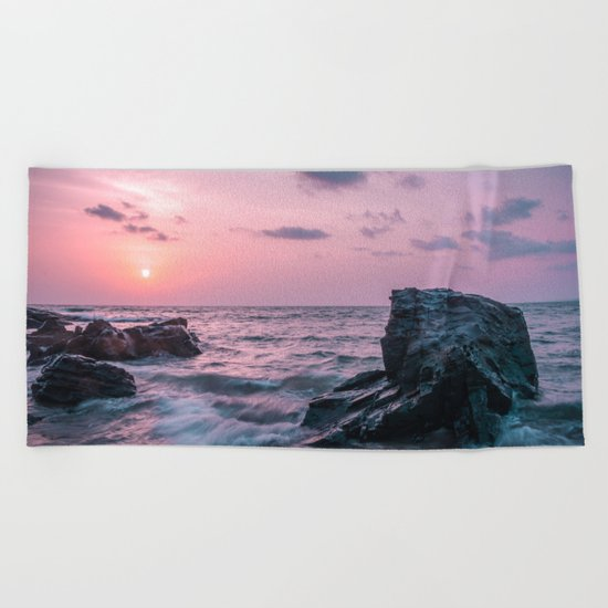 Ocean landscape at sunset Beach Towel