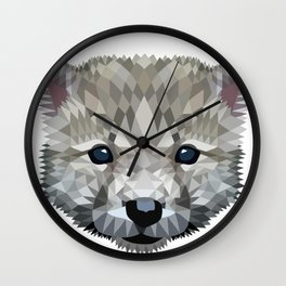 Baby wolf color blocking Wall Clock