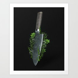 Knife with herbs Art Print