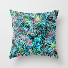 Abstract Floral Chaos Throw Pillow