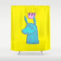 llama Shower Curtains featuring Llama King by lxromero