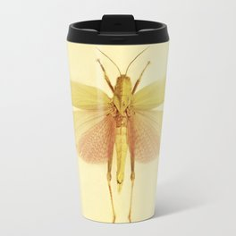Vintage Inspired Pastel Yellow Salmon Butterfly Travel Mug