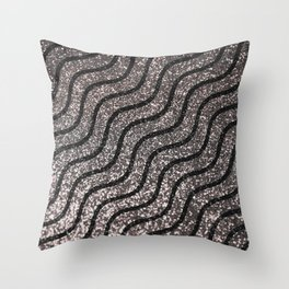Silver Glitter With Black Squiggles Pattern Throw Pillow