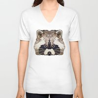 racoon V-neck T-shirts featuring Racoon by Ancello
