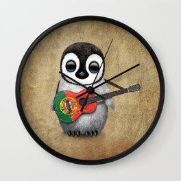 Baby Penguin Playing Portuguese Flag Acoustic Guitar Wall Clock