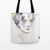agnes Tote Bags featuring love and sacrifice by agnes-cecile