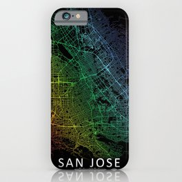 San Jose, USA, City, Map, Rainbow, Map, Art, Print iPhone Case