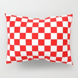 Jumbo Australian Racing Flag Red and White Checked Checkerboard Pattern Pillow Sham