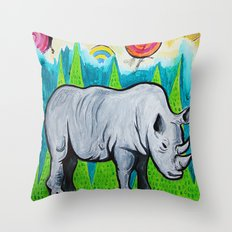 Rhino of the Land Throw Pillow