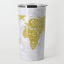 Gold Glitter World Map on White Marble Travel Mug