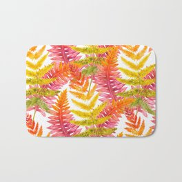 Hand painted pink orange watercolor fall fern floral Bath Mat